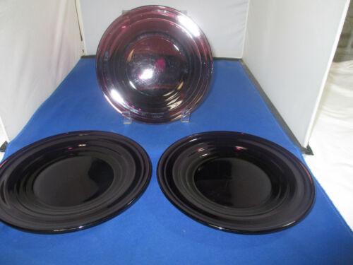 """Set of 3 Vintage Amethyst Purple Glass 7"""" Salad Plates"""
