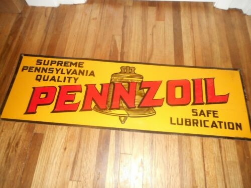 RARE Vintage Embossed PENNZOIL MOTOR OIL TIN TACKER Advertising Gas Station Sign