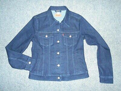 Levis Womens Usa Large Dark Blue Stretch Denim Jean Jacket A2