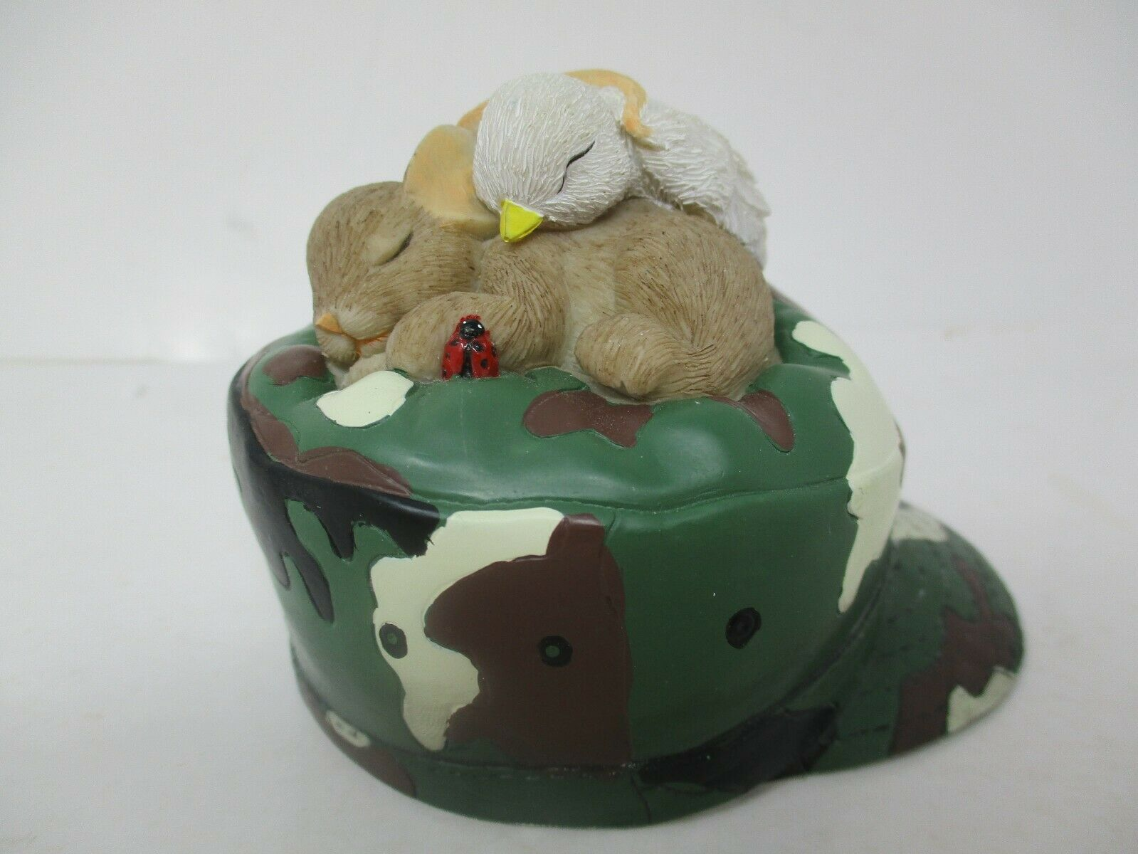Enesco Charming Tails Sharing A Dream Of Peace Camo Army Hat Figurine