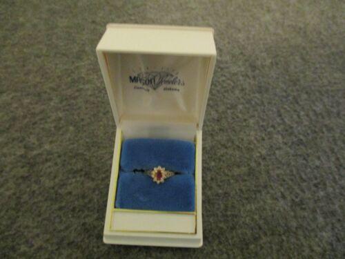 VINTAGE 14K YELLOW GOLD RUBY DIAMOND RING OVAL & ROUND CUT SIZE-3.25 FILIGREE