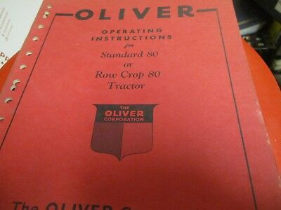 Oliver Standard 80 Row Crop 80 Tractor Operators Manual