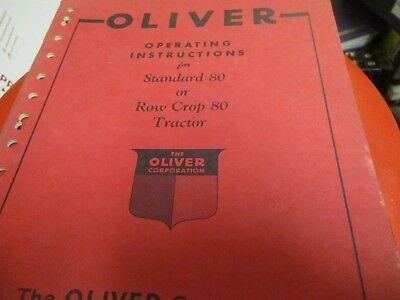 Oliver Standard 80 Row Crop 80 Tractor Operators Manual