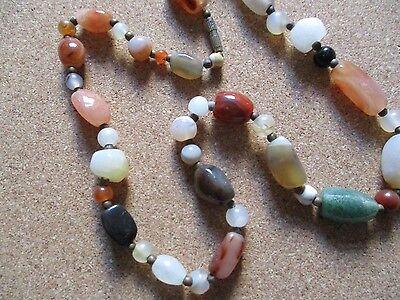 Vintage Scottish Celtic Natural Pebble Stone Agate Bead Necklace barrel clasp