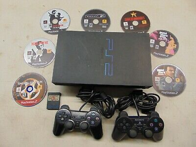 Sony Playstation 2 PS2 SCPH-39001 w/7 RockStar Games, 2 Controls, & Memory Card