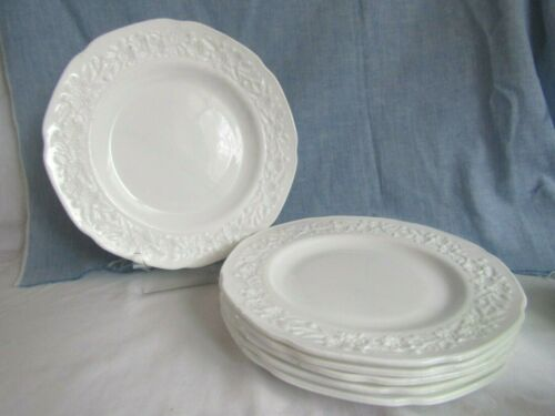 "HOCKING DEPRESSION MILK GLASS (VITROCK) 10"" DINNER PLATES SET OF 6"""