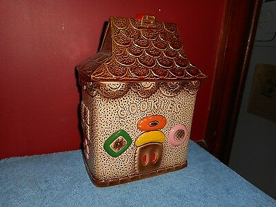 GINGERBREAD HOUSE COOKIE JAR MADE IN JAPAN 1950-1970 Cookie Kitchen Canister