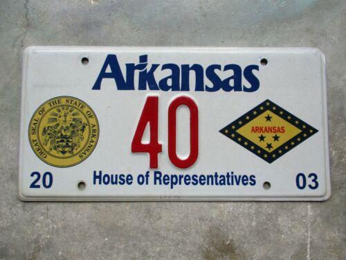 Arkansas 2003 House of Rep. license plate  #    40