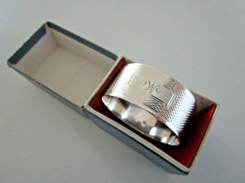 Sterling Silver Napkin Ring, Initial M or W, Hallmarked London 1944