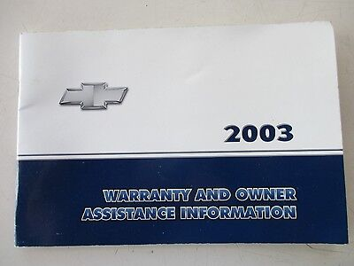 CHEVROLET IMPALA WARRANTY AND OWNER ASSISTANCE INFORMATION BOOKLET 2003