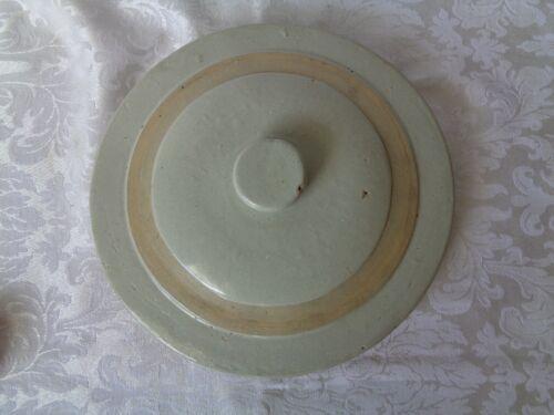 "Vintage Antique Stoneware Crock LID ONLY Beige Cream  10 1/4"" dia."