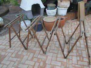 4 Old Folding Timber Trestle Table Bases