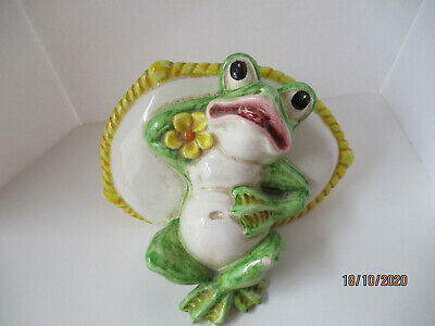 LARGE FROG FIGURE MADE IN ITALY, LYING BACK ON  PILLOW