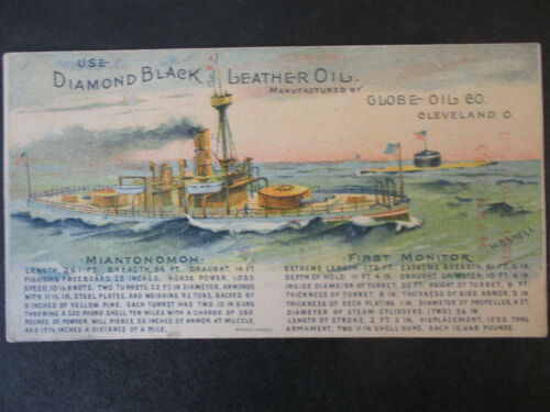 1893 DIAMOND BLACK LEATHER OIL CIVIL WAR MONITOR SHIP CLEVELAND OH