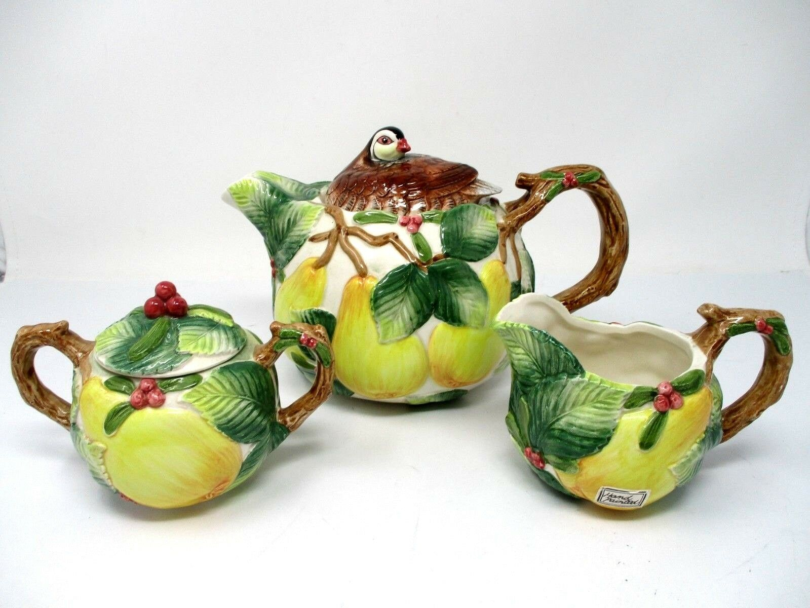 Fitz & Floyd Tea Pot, Creamer & Sugar Bowl 1991