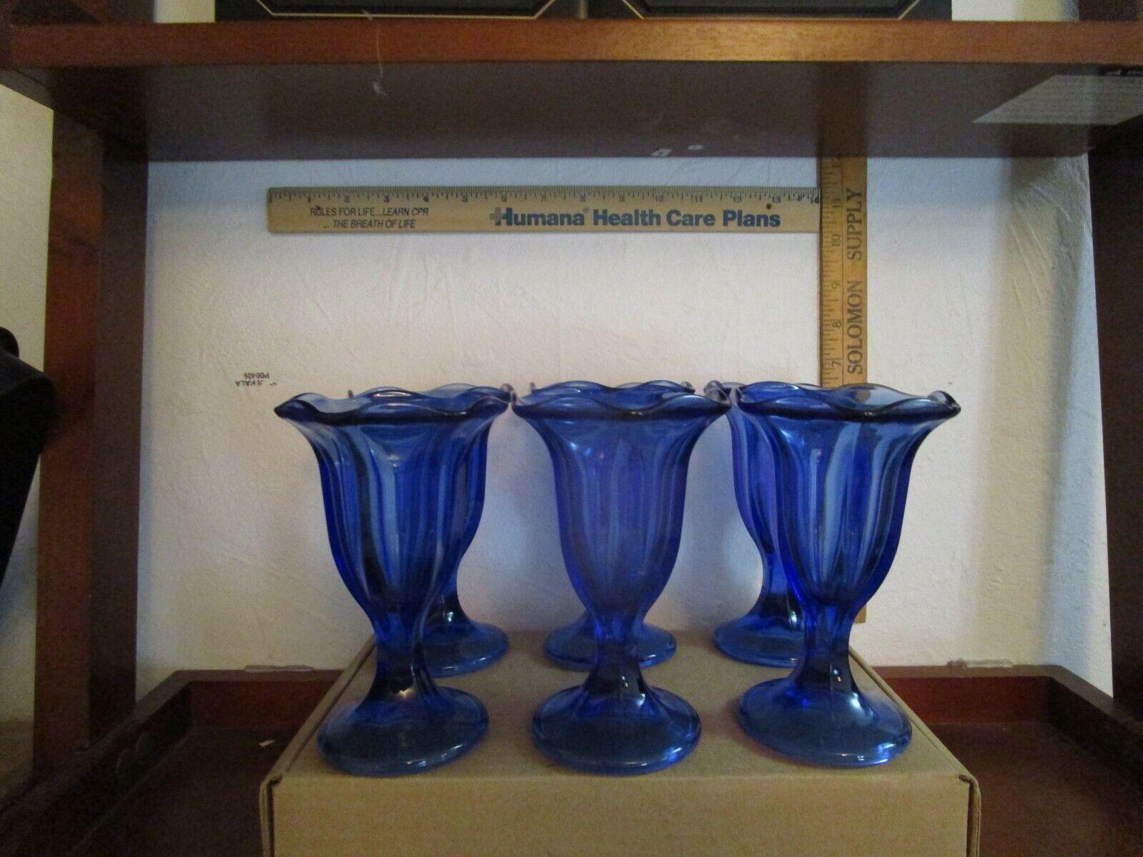 Set Of 6 Dark Cobalt Blue Glass Goblet Parfait Fountain Ice Cream Sundae Cups - $40.00