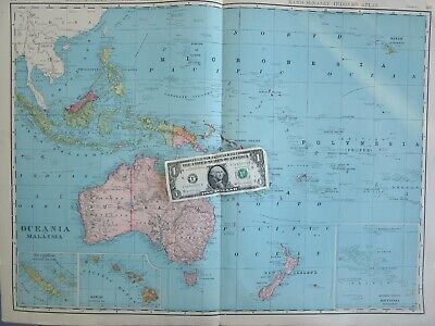 XXL 1905 DATED OCEANIA MALAYSIA Wall Map 1900s Map Art Decor HAWAII, PHILIPPINES - $17.50