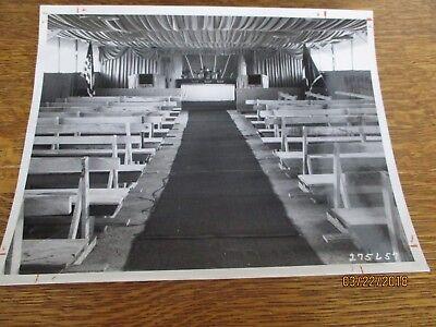 WWII Catholic Supply Chapel Inside Myitkyina Burma 8x10 Photo 1945 Far East