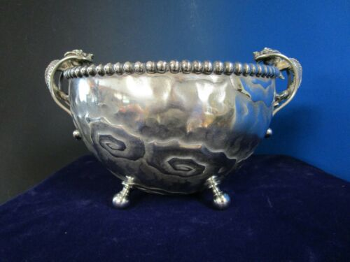 Derby Figural Dragon Footed Bowl 1887 Antique Silverplate Impressive