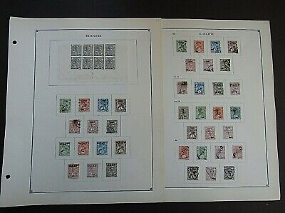 ETHIOPIA - FINE COLLECTION OF EARLY FOURNIER FORGERIES ON ORIGINAL PAGES