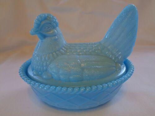 Vintage Westmoreland Blue Slag Glass Hen On Nest Split Tail Covered Dish!