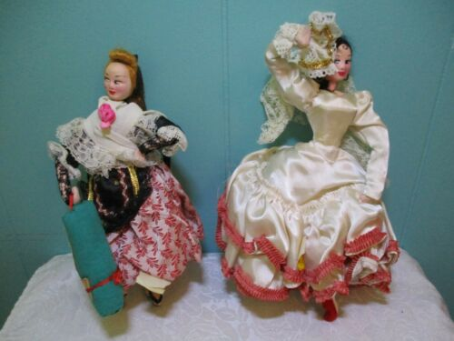 "Vintage Barcelona Cloth Doll & Blue Maja Doll - Both 9"" Tall by Goya - Spain"