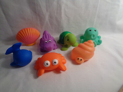 Elegant Baby Bath Toy (Elegant Baby Sea Party Bath Toys Squirtie Set w/ Vinyl Pouch 7 Rubber Figures )