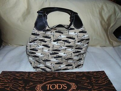 403376f4c6ad New Tod's Italy Creme and Multicolor Boat Water Ski Printed Canvas Tote  $1198