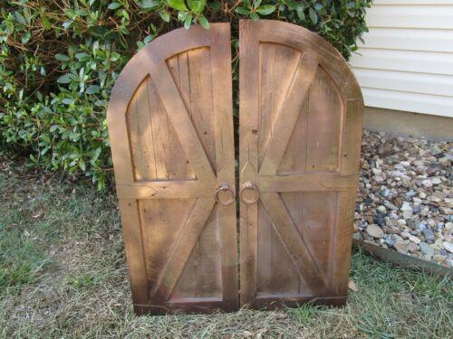 Pair-dark espresso & copper vintage inspired round top barn doors with hardware