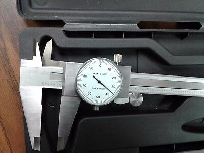 12 Precision Stainless Steel Dial Caliper White Face 104-451--new