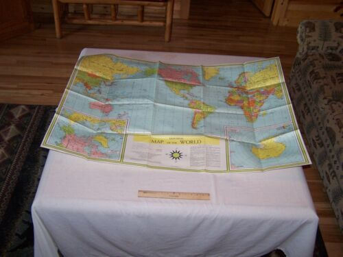 Vintage UNIVERSAL MAP OF THE WORLD Teachers Classroom Poster 3