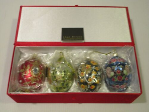 Joan Rivers Classics Collection Set 4 Multicolor Egg-Shaped Glass Ornaments