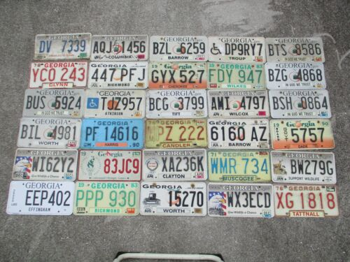 30 Georgia license plate lot for collecting or decorating man cave # 1