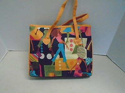 (Girls Fancy Print Design Handbag Purse Orange Fabric New with Tag Shopping)