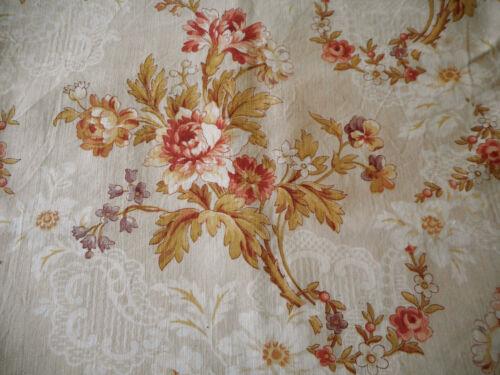 Antique French Floral Violet Garland Cotton Fabric ~Burnt Apricot Lavender Olive