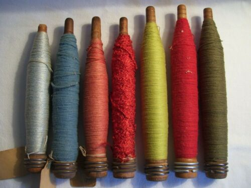 7 Vintage/Antique Industrial Wooden Textile Bobbins/Spools w/Colorful Threads