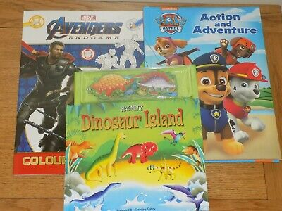 Dinosaur Island Magnetic Story Book , Avengers Colouring & Paw Patrol Book