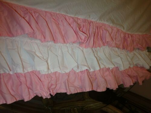 Adorable PINK WHITE TRIPLE (3) RUFFLES crib skirt dust ruffle Excellent UNUSED??