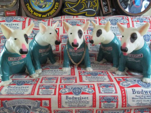VTG BUD LIGHT BEER SPUDS MACKENZIE PIT BULL TERRIER IN MOTION DOG STATUE SIGN A+