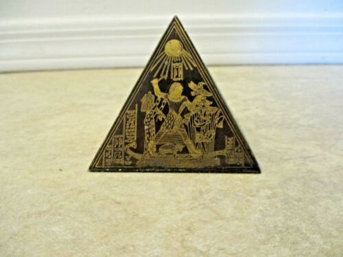 Vintage! Decorative Etched Brass Pyramid Paper Weight Egyptian Hieroglyphics