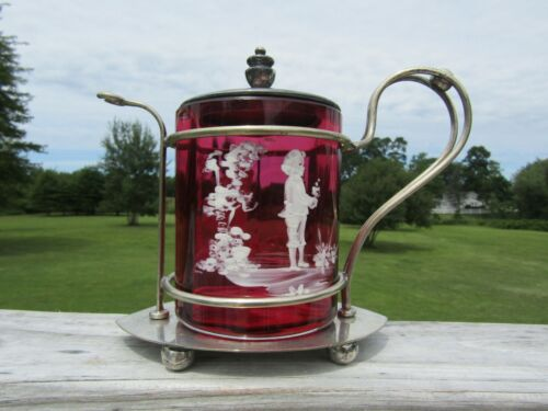 Mary Gregory Cranberry Mustard Pot~RARE