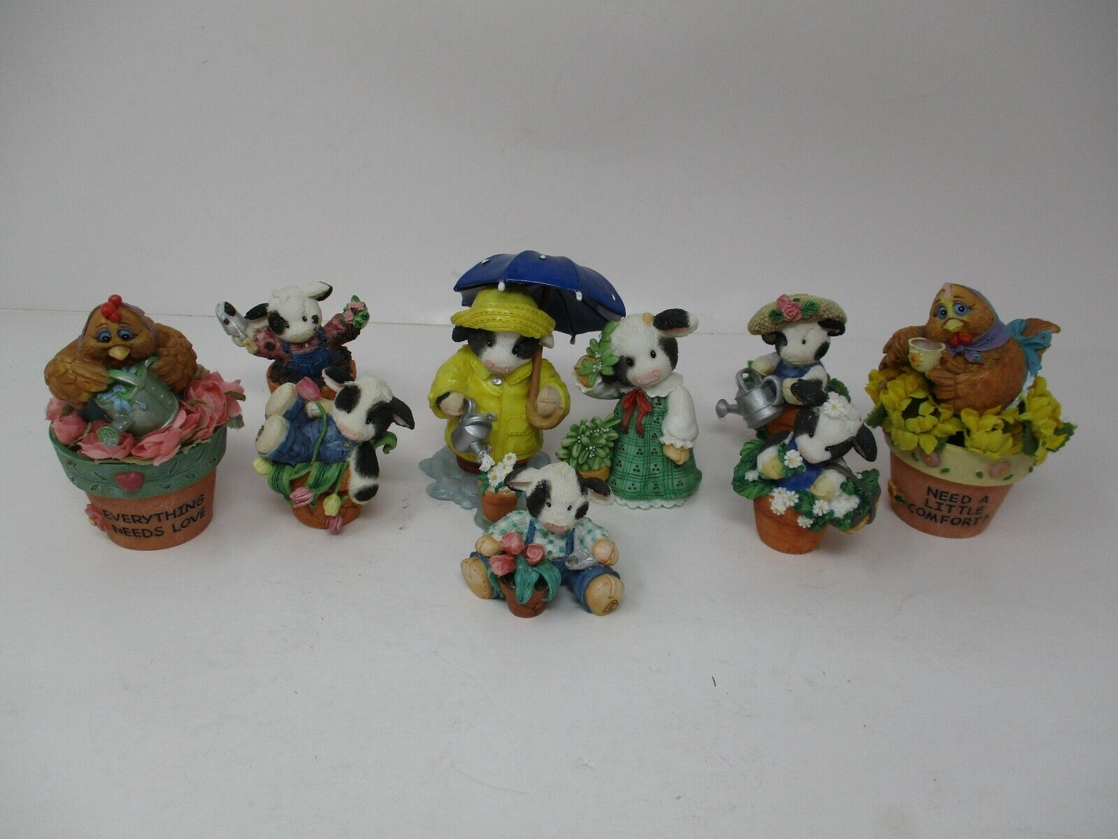 Mary's Moo Moo's Cow Figurine Lot Of 7 And 2 Chicken Figurines