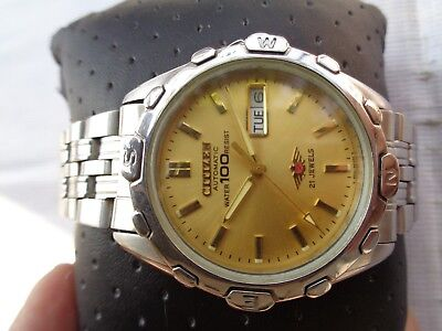 RARE VINTAGE CITIZEN MILITARY STYLE WATER 100 M RESIST MEN AUTOMATIC WRISTWATCH
