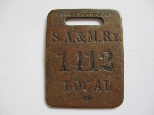 S A&M RY Savannah Americus and Montgomery Railway Brass Train Luggage Tag