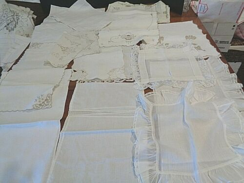 Collection of antique doilies mostly runners  Hand crochet/embroidered