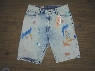 MENS SIZE 36 LIGHT BLUE/PAINT SMEARED LEVI 569 SHORTS - NWT