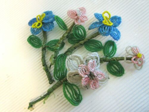 Vintage Handmade French Beaded Flowers - 5 Stems 4""
