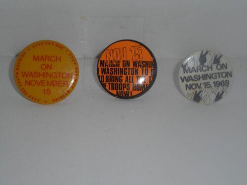 "Anti-War 3 VINTAGE 1969 Nov. 15th ""MARCH ON WASHINGTON"" Pin backs"