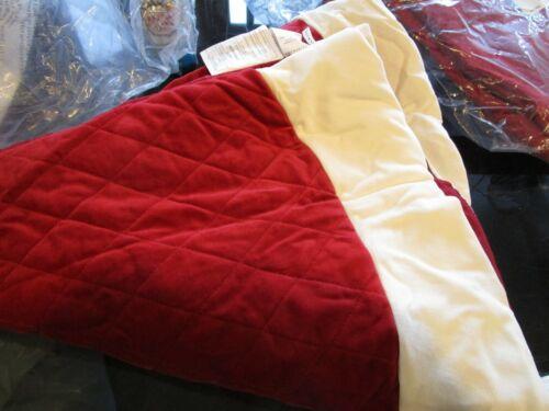 Pottery Barn Velvet Tree skirt  red ivory trim Christmas small no monogram New