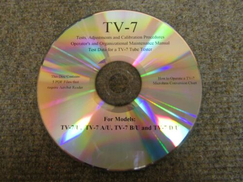 TV-7 Tube Tester Test Data, Calibration, GM Conversion Chart and More ~ CDrom